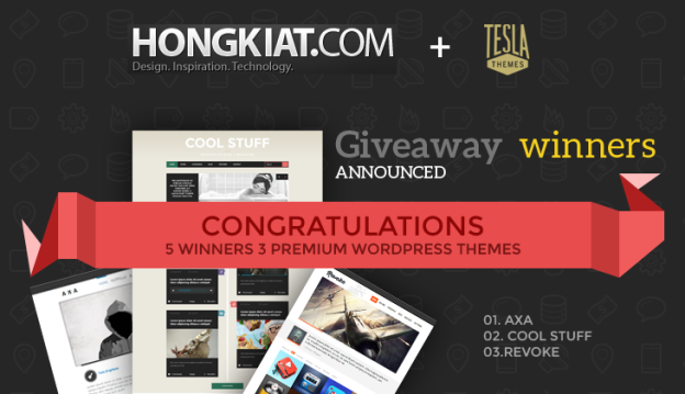 Announcing the Winners of TeslaThemes Giveaway