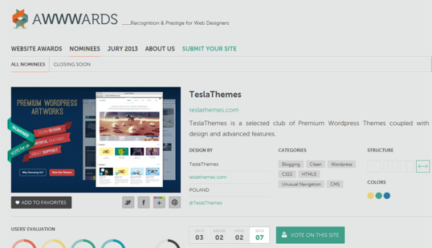 TeslaThemes nominated on Awwwards