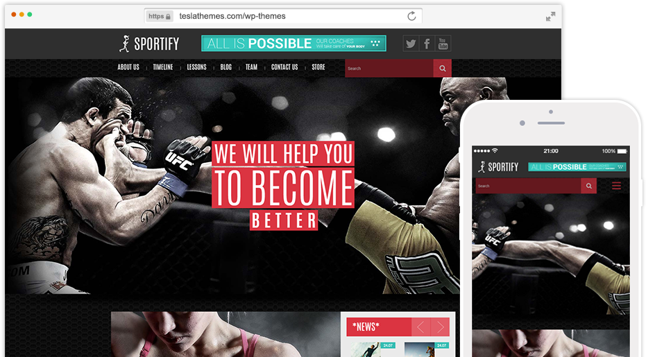 Sportify - Gym/Fitness WordPress Theme | TeslaThemes