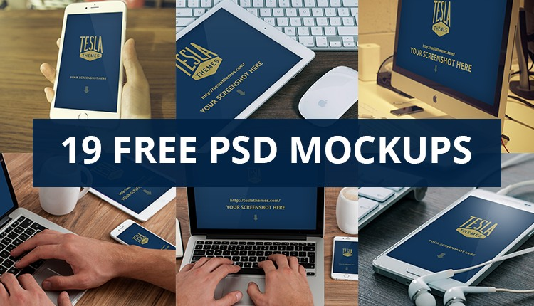 Freebie: 19 high quality device mockups (PSD)